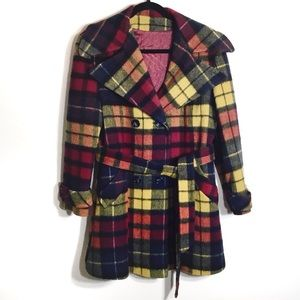 Vintage 70s Wool Plaid Peacoat